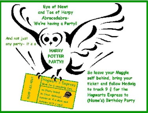 Harry Potter Invites was perfect invitations layout